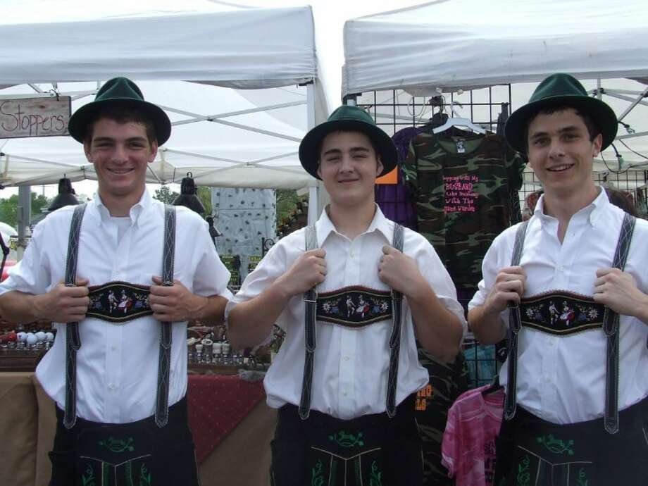 Clements High School folk dancers Drew Torrey, Tanner Valen, and Phillip Bourgeois came to perform at the German Festival.