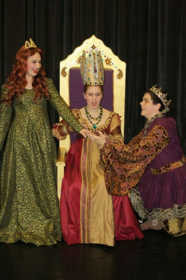 """Broadway Studio Workshop is currently presenting the musical, """"Once Upon A Mattress,"""" at the Royal Academy of Fine Arts in Webster with Avery Ballard, Caroline Reichert and Steven Reeder, from left, in the cast."""