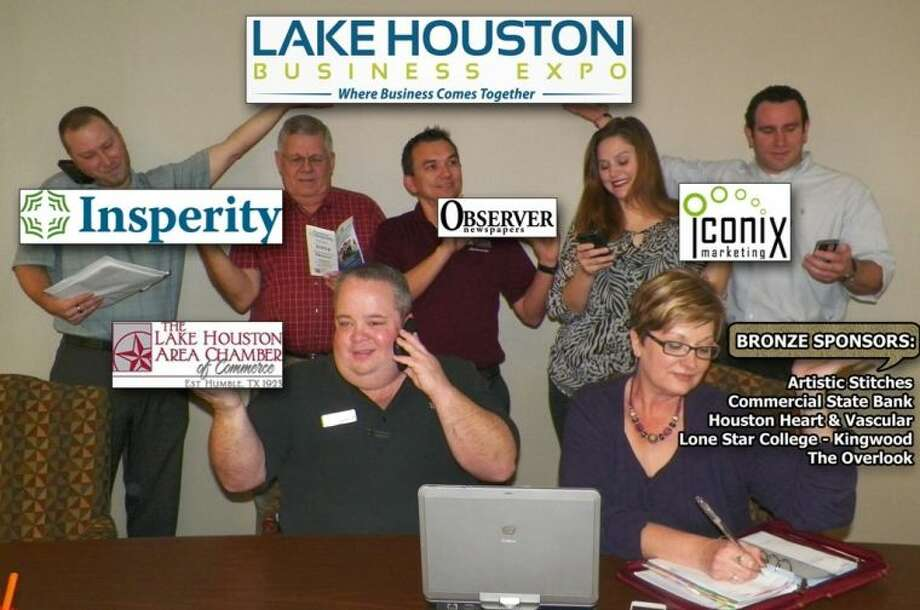 Lake Houston Business Expo Team (back row: left to right) - Jason Waggoner - Acutraq, Tony Austin - Town Center Park Association, Sam Schrade - Digital Network Associates, LLC, Monica Dedmon - Iconix Marketing, Robert Eschenburg - Paychex, (front row: left to right) - Jay Railey - Sprint, and Trish Helmerich - Lake Houston Area Chamber of Commerce.