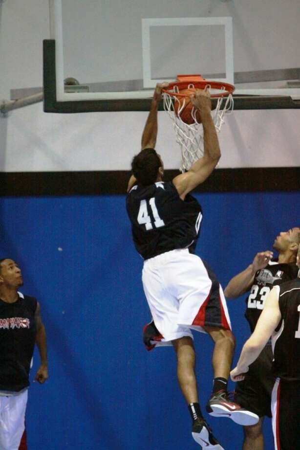 Patel Tinir (41) of the Havok slams this one down against the Knights on Saturday night.