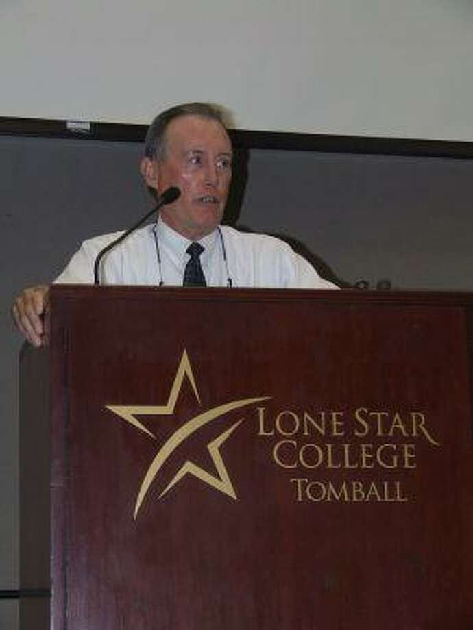 """William Hensel, a sales consultant at Honda of Clear Lake, spoke to the crowd at the Christian Business Luncheon at Lone Star College-Tomball on Aug. 12. In keeping with the theme, """"Christ in the Workplace,"""" Hensel and his boss spoke about how they use their jobs at a car dealership to share their faith."""