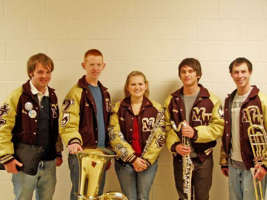 Magnolia High School Band members, from left, Jack McQueen, Travis Michna, Liz Hebert, Zack Novark and Josh Hoke pose for a picture. The five students traveled to Waco Jan. 9 to participate in Texas Music Educators Association Area Band Auditions