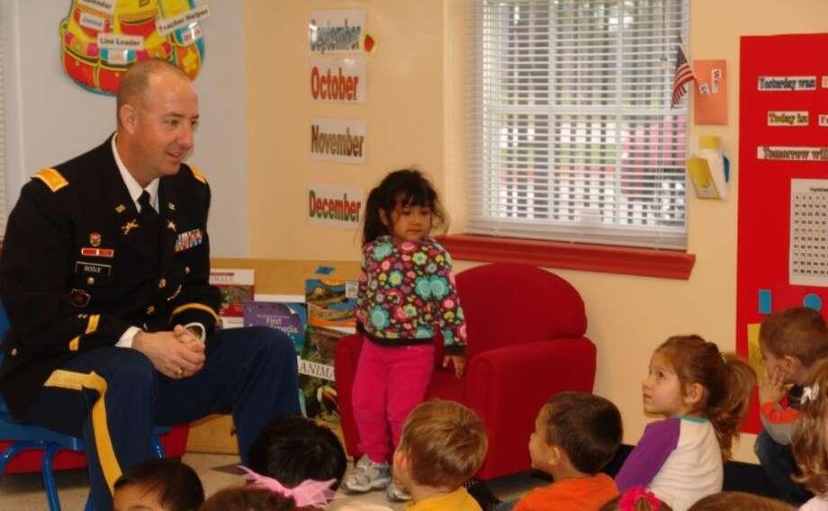 Army Major Brian Bogle speaks to students at Goddard School. Photo: JEFF NEWPHER