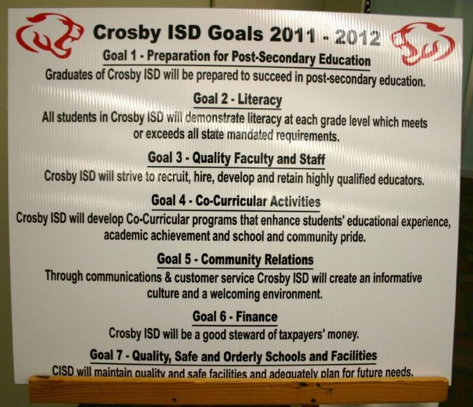 Crosby Independent School District displays its goals during the Board of Trustees meeting Feb. 20 at the district's Operations Center. The board discussed the possibility of extending the students' instructional day in pursuit of district goals. Photo: STEPHEN THOMAS