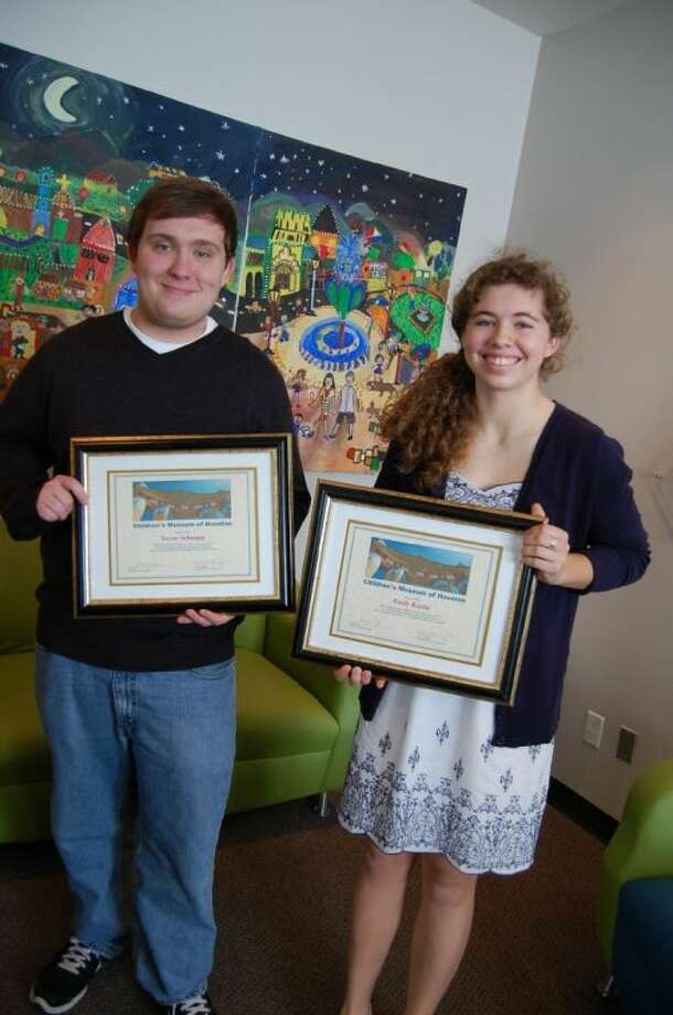 Trevor Schnupp and Emily Koehn are recipients of the 2013 Jhin Family Volunteer of the Year Award from the Children's Museum of Houston.
