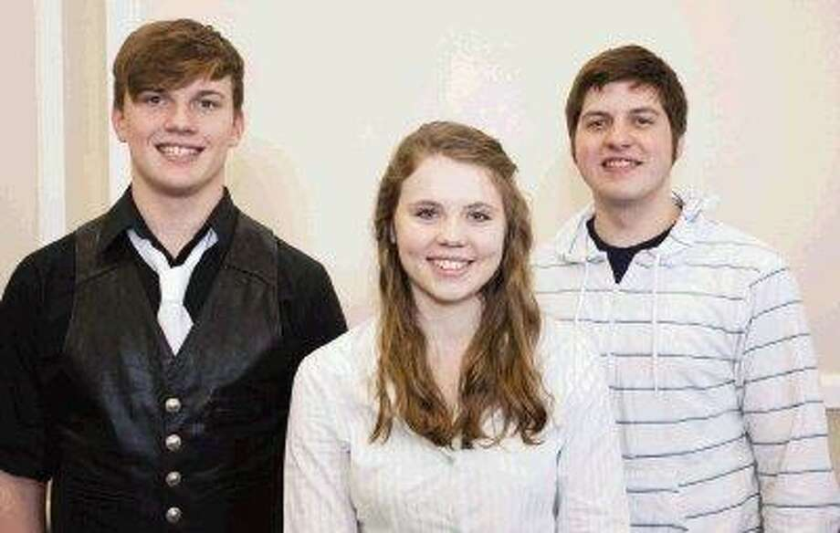 College Park High School students, from left, junior Douglas Gibbs, senior Brynn Umbach and senior Dyland Corder will represent CPHS next month at the annual Texas Music Education Association Convention as members of the All-State Orchestra and Choir. Corder, 18, and Gibbs, 17, made the All-State Men's Choir. Umbach, 17, made the All-State Philharmonic Orchestra on English horn. / The Courier