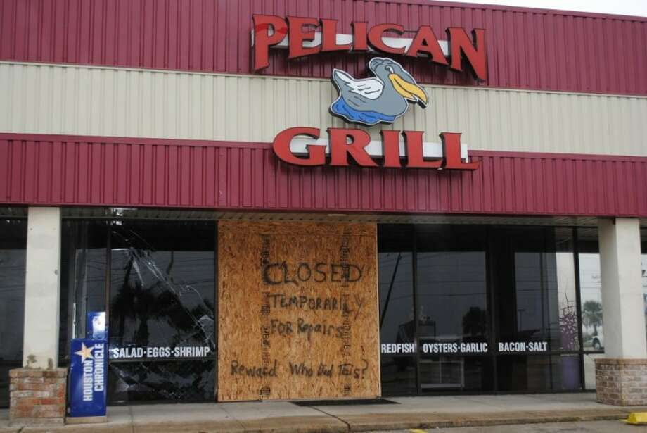 Customers of the Pelican Grill on NASA Parkway in Seabrook arrived to find the restaurant shuttered after someone drove a vehicle through the front of the building early Friday morning (Feb. 17) and left the scene. Capt. Shawn Wright said Seabrook Police are investigating. Photo: Mary Alys Cherry