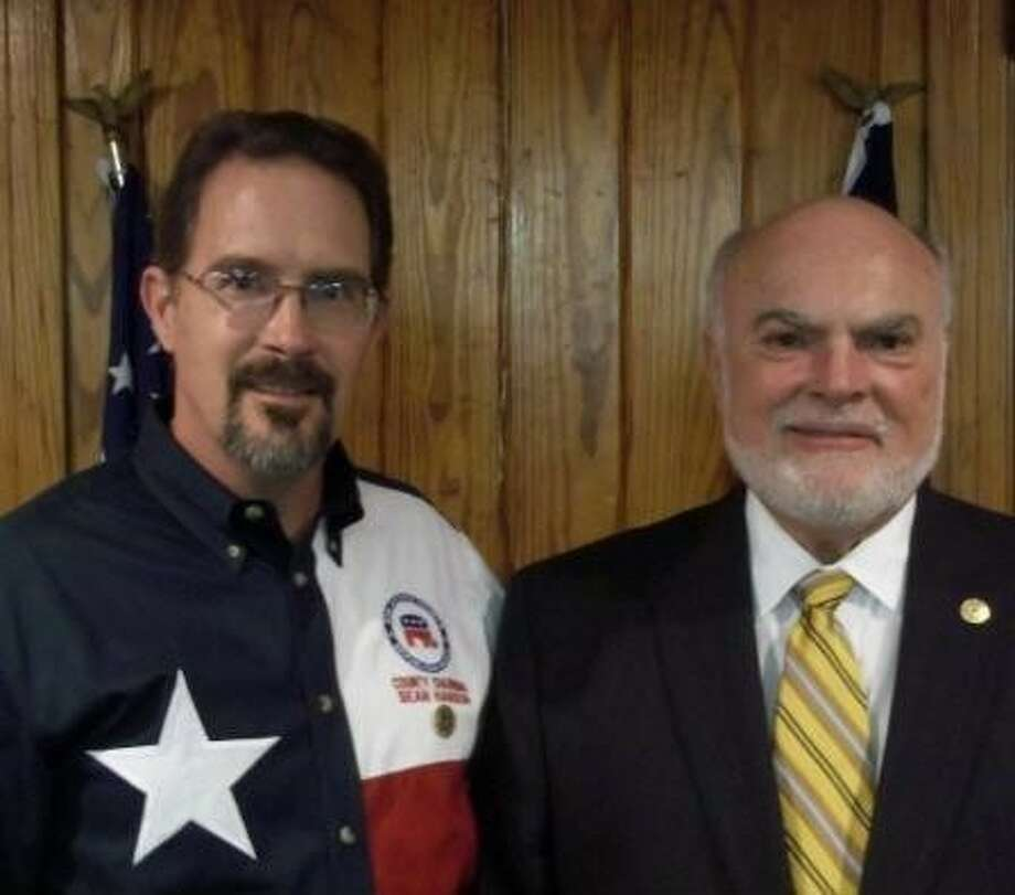 State Senator Robert Nichols, right, with Sean Hanson, San Jacinto County Republican chairman, at the SJC Republican Party meeting held at the Coldspring Community Center on Tuesday, Feb. 14. Photo: Submitted Photo