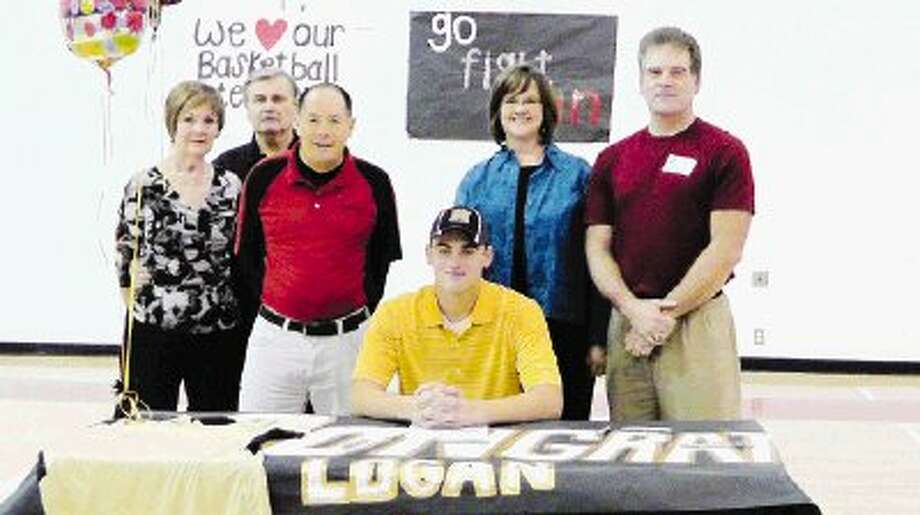 Logan Oliver signis his letter-of-intent to play college baseball at Harding University in Searcy, Arkansas. Oliver is a 6-foot-5 standout pitcher who will be the Eagles' ace again this season. Pictured with Logan, from the left, grandparents Becky and Danny Murphy, Rosehill Christian baseball coach Robert Cooper and parents and Tina and Steve Oliver. The Eagles have just begun their baseball season.