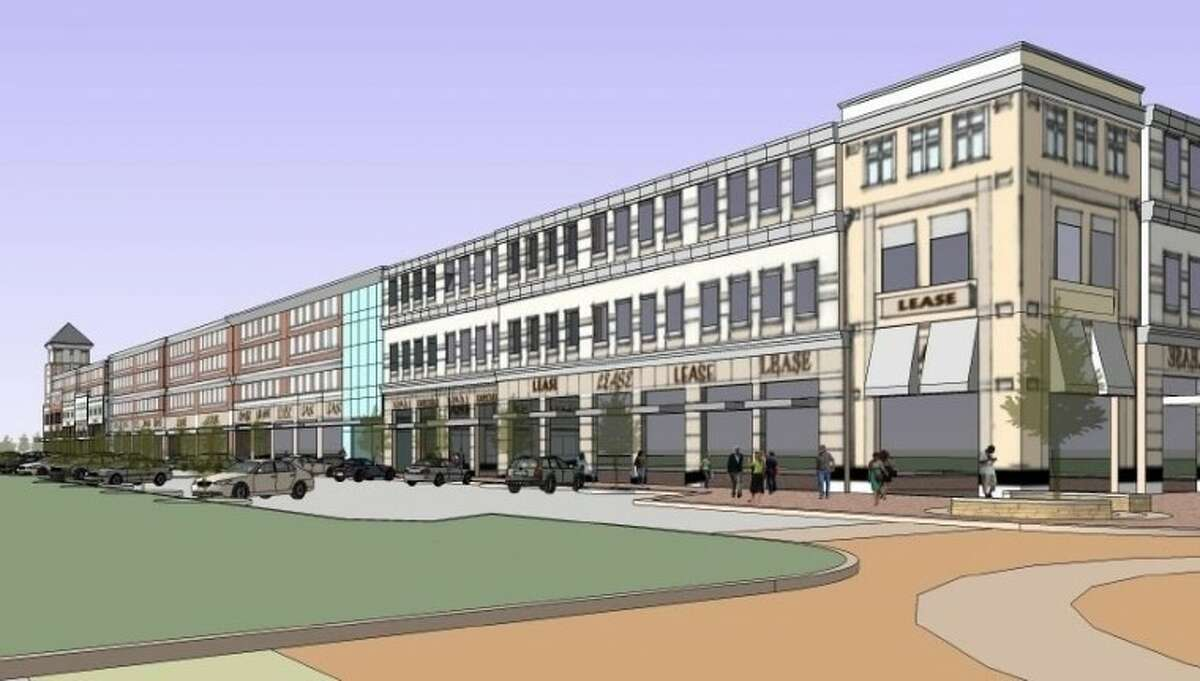 An early proposal for Town Center envisioned a 94,000 square foot, three-story office-retail development with a four-story parking garage.