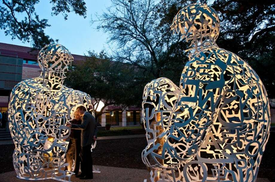 "Rice University dedicated ""Mirror,"" a site-specific installation by renowned international artist Jaume Plensa, during an outdoor ceremony on Rice campus on Feb. 21. (Photo by Jeff Fitlow) Photo: Jeff Fitlow"