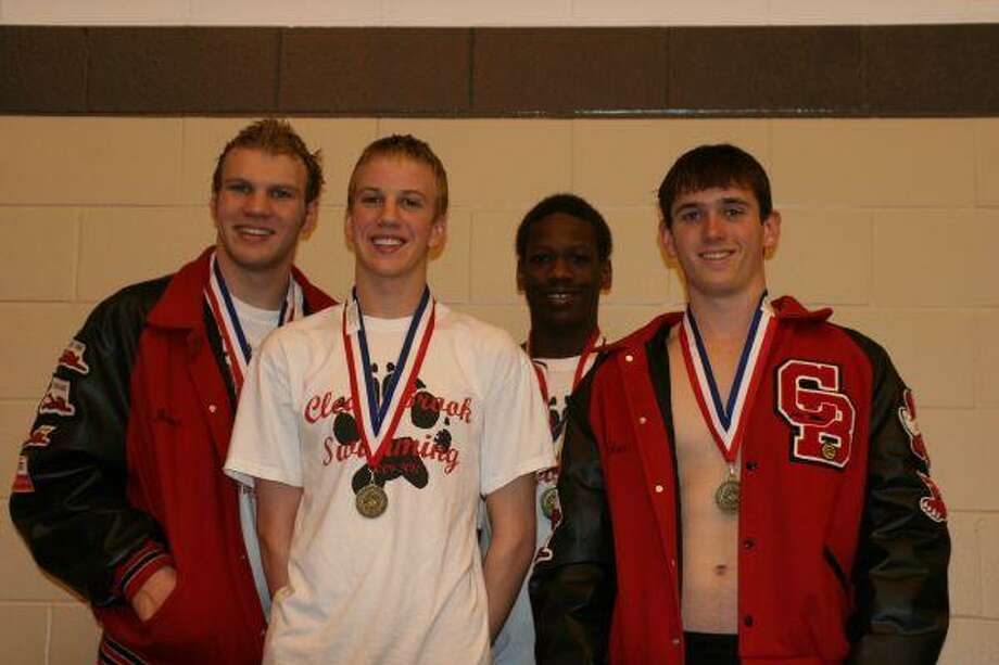 Clear Brook's district winning boy's 400 freestyle relay: Brian Bloomfield, Patrick Labrode, Shaad Fincher and Chris Lunney.