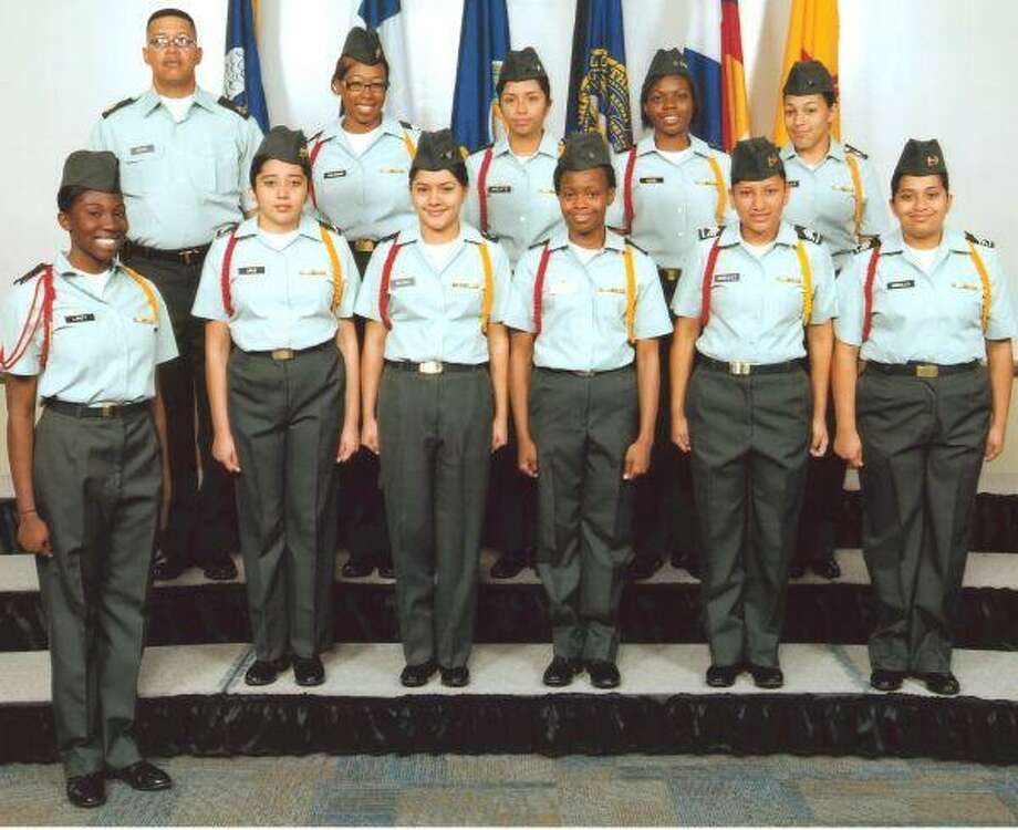 The Westfield High School Unarmed Drill Team took first place at the Western Regional Army Drill Meet recently. Team members on the front row, from left, are Christmas Linzy, Anna Crus, Blanca Blanco, Tenea Lewis, Alma Gonzalez and Maryen Morales; back row, Sfc. Warner Fields, Trennicea Butler, Elvira Arzate, Arielle Adio and Stephanie Castillo.