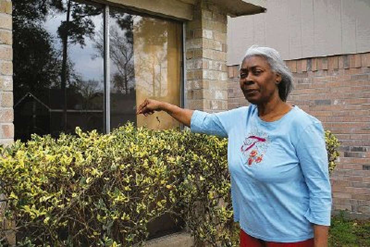 A deer crashed through the front window of Nancy Terrell's home on Village Grove Dr. in Atascocita Feb. 20, just after another deer had already invaded her next-door neighbor's house.