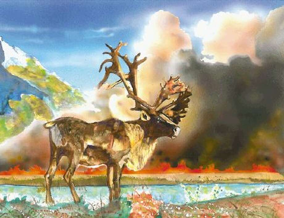 """""""Woodland Caribou,"""" painted by Sky Waters from Minnesota, was selected as the grand prize winner of the 2012 Endangered Species Day Youth Art Contest."""