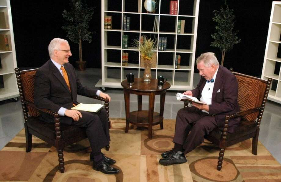 "Former Lt. Gov. Bill Hobby (right) and HCC Chairman Richard Schechter Friday during a break in taping ""The Chairman's Report."""