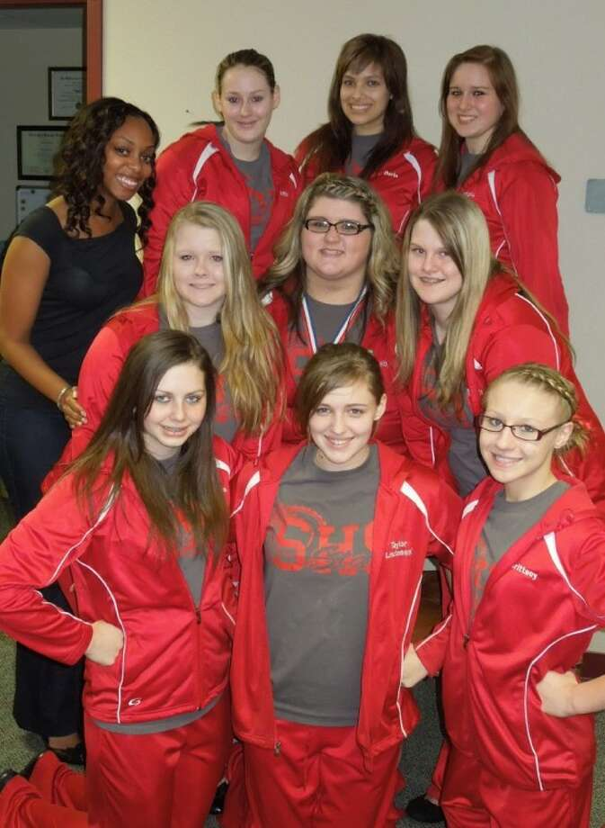 In the back row, from left, are Stars Drill Team sponsor Ms. Hulitt and members Brittany Carroll, Freeda Young, Jessica Ricciardi; middle row, Raina Taylor, Kaitlyn Barker, Lacy Armitage; and front row, Veronica Campbell, Taylor Fulton and Brittney Yargo.