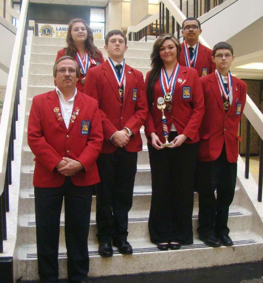 Auto technology students, under the instruction of Marin Alvarado, far left, won first- and second-place finishes at district competition. From left, Kayla Salyers, Joshua Hansen, Kathryn Gage, Eden Maldonado and Jeffrey Parrish will now compete at the state level.