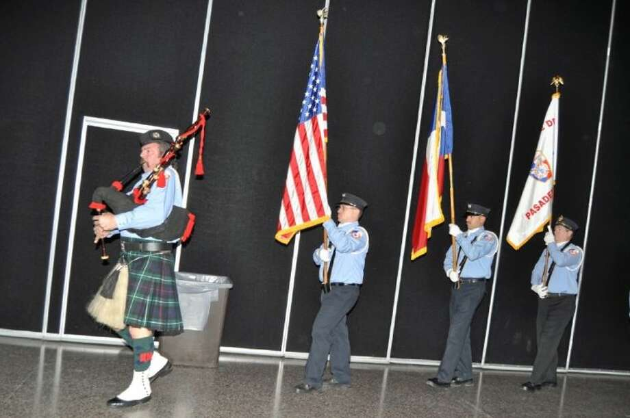 The Colors were presented by the Honor Guard, John Lyman, Jacob Rushing, Rene Garivey and Robert Mendez. Photo: BILL WELCH