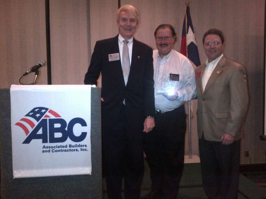Russell Hamley, president of ABC Houston; Leonard A. Bedell, president & CEO of Mobil Steel; and Dwayne Boudreaux of Turner Industries Group. Bedell's Mobil Steel International, Inc. was honored as ABC Houston 2012 Company of the Year. Photo: SUBMITTED PHOTO