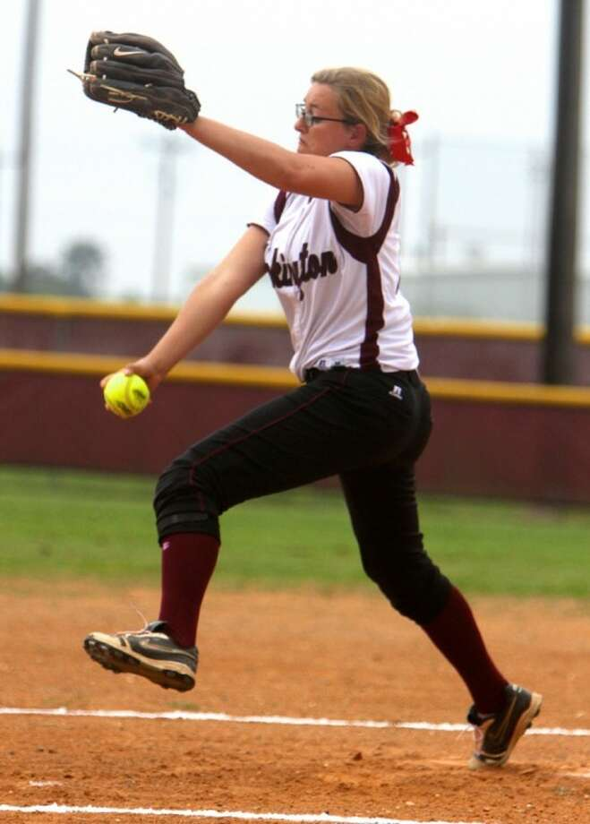 Tarkington pitcher Rachel O'Brien throws the ball during the first inning against the Shepherd Lady Pirates on Tuesday, March 29. Tarkington defeated Shepherd 8-3.