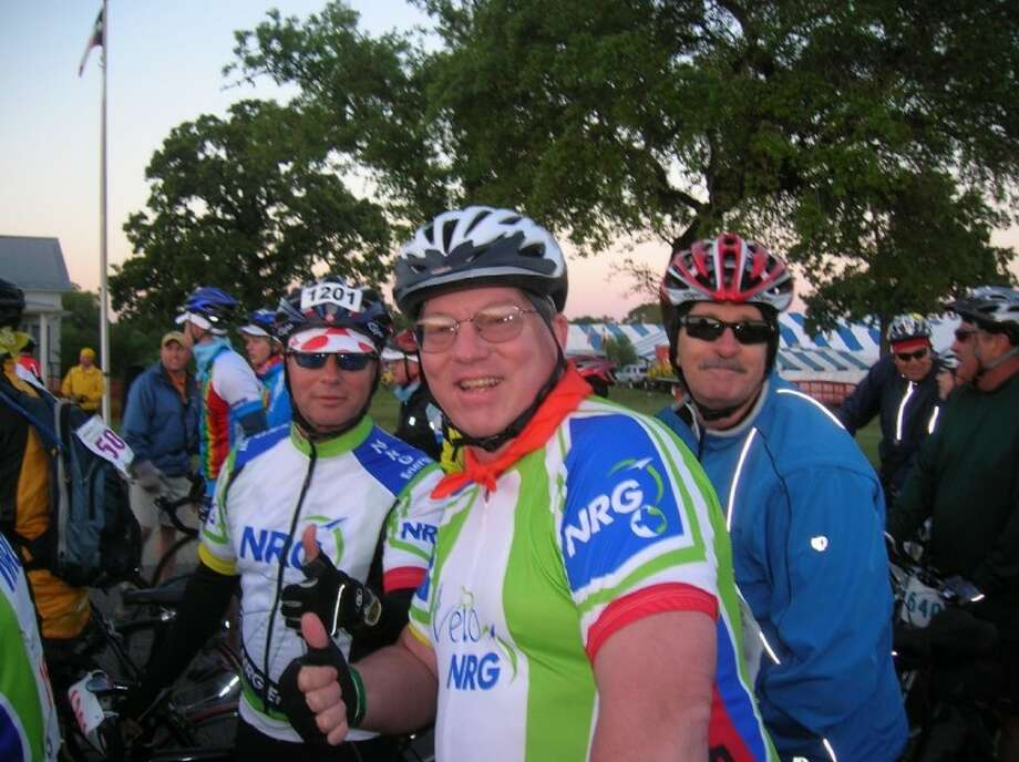 League City resident Kinchin takes a break with Team NRG during the BP MS 150.
