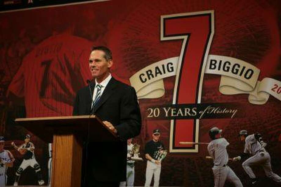 Craig Biggio had some nice words for those gathered at the pre-game ceremony.