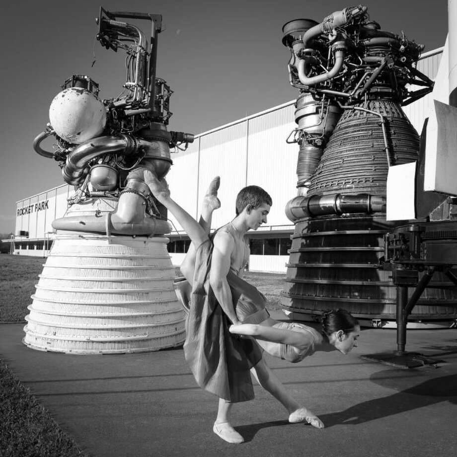 Dancers Julie Whitmore and Benjamin Monical prepare for Bay Area Houston Ballet and Theatre's February production of Celestial Mechanics at Space Center Houston. Photo: J. Pamela