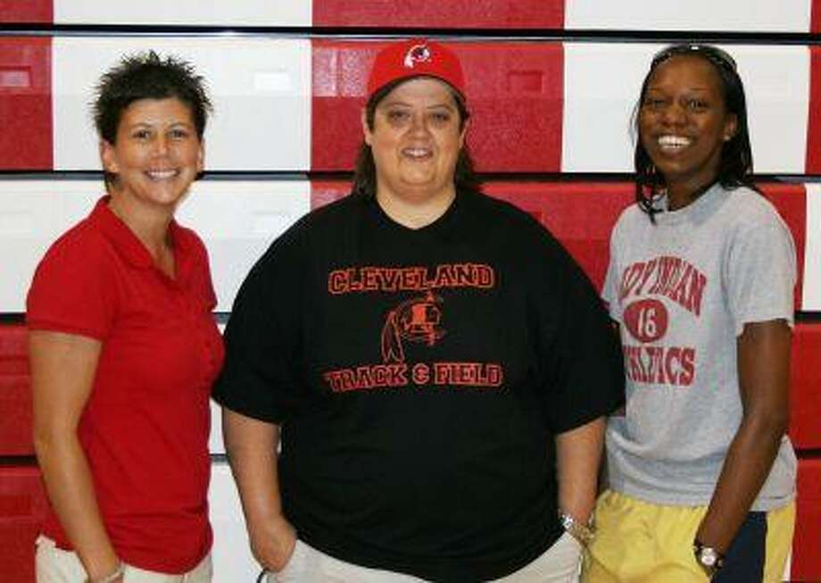 New coaches for Cleveland High School Volleyball (left to right) are Ty Drake, Susan Pittman and Amber Williams. Pittman is the new head volleyball coach while Williams and Drake are assistant coaches.