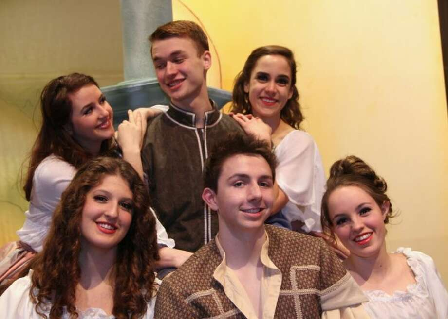 "Appearing in ""Kiss Me, Kate"" at St. John's School, Feb. 28-March 2, are Justin Bernard, Carolyn Brooks, Sam Burkett, Erin Granberry, Monique Groen, and Hannah Worscheh."