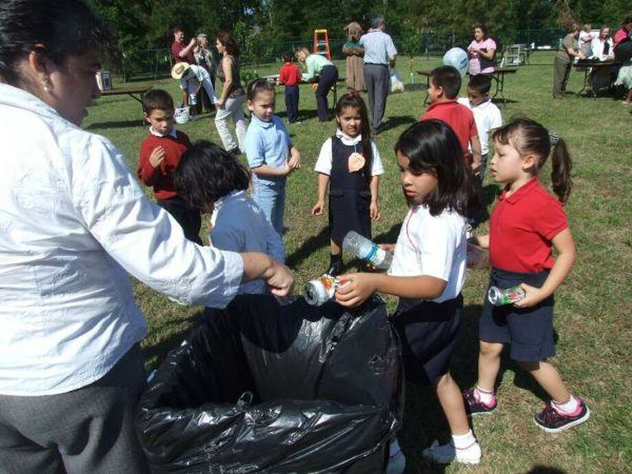 Students were asked to bring materials such as aluminum cans, plastic bottles and paper from home as part of Craven Elementary's observance of Earth Day, April 22.