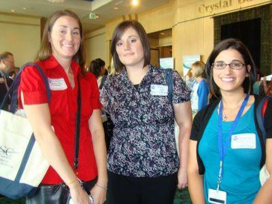 Early arrivals at the Clear Lake Chamber's 42nd annual New Teachers Luncheon at South Shore Harbour Resort included Mary Christian, Tammy Hart and Rebecca Watkins, from left, who will teach at League City Intermediate.