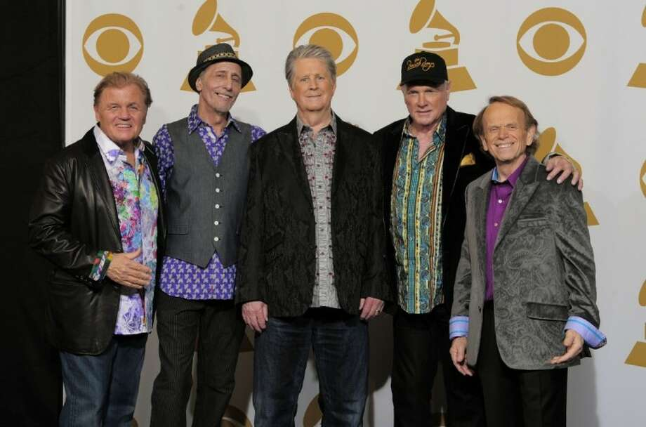From left, Bruce Johnston, David Marks, Brian Wilson, Mike Love and Al Jardine of The Beach Boys pose backstage at the 54th annual Grammy Awards on Sunday. Photo: Mark J. Terrill