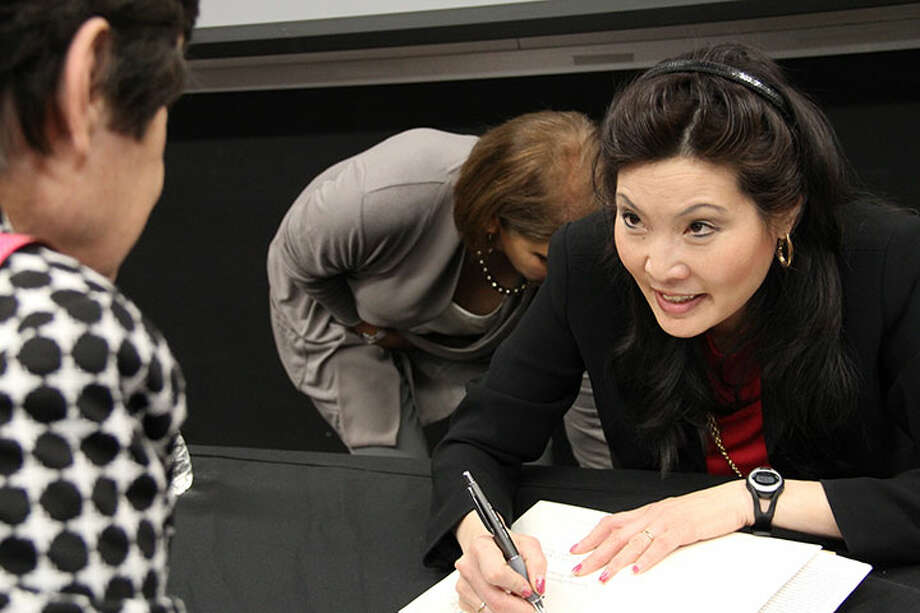 """Sheryl WuDunn, author of national bestseller, """"Half the Sky"""" did a reading for the Prime Time Lit book club of the North Harris County AAUM Branch"""