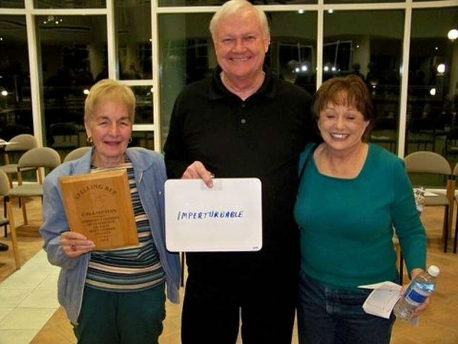ALL members Shelly Leith, Mike Adams and Carolyn Russell won the Community Chamber of Commerce of East Montgomery County's third annual Spelling Bee on Feb. 16. Photo: Picasa