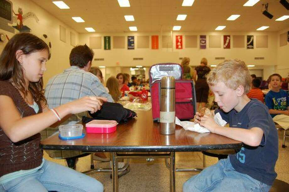 Mali Lemburg and Jack Riley Armistead packed green lunches for How Green is Your Lunch? at Woodland Hills Elementary April 22.