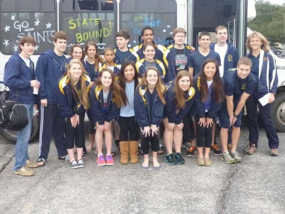 The St. Thomas Episcopal swimming teams towered above the TAPPS Division III state meet, with the girls winning their third consecutive championship and the boys finishing second as a team. Photo: Submitted Photo