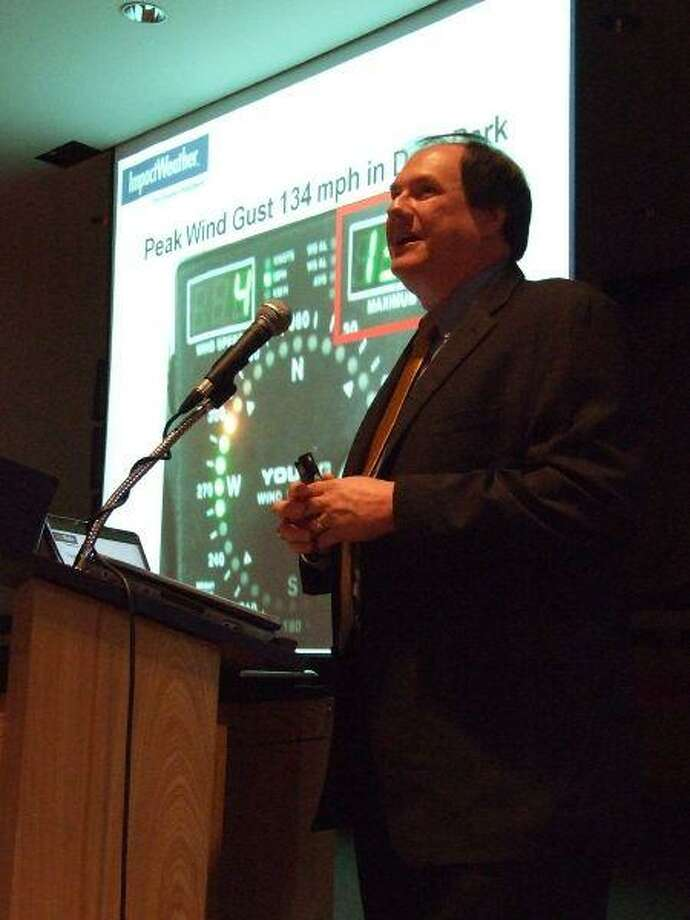 Mark Mathiesen, senior tropics meteorologist for Impact Weather, explains how Hurricane Ike has changed the industry's approach to predicting the intensity of future storms. Mathiesen revealed the new prediction tactics during a hurricane seminar at Lee College, April 29.