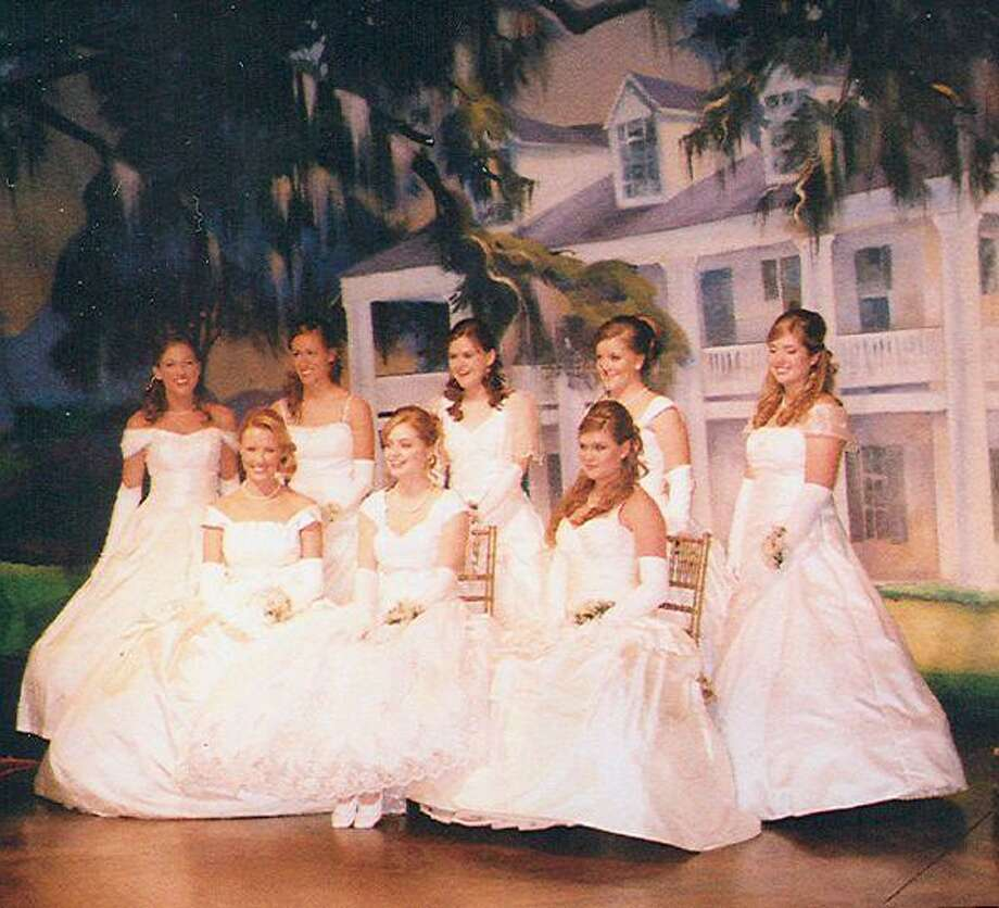 Seated (front) are the Southern Heritage Ball debutantes Anne Kline of Bellaire, Natalie Brown of Sugar Land and Shelby Knight of River Oaks. (Back) Sarah Petta of Tanglewood, Sara Grimm of Houston, Aubrey Hester of Memorial, Joan Scheirman of West University Place and Meredith Price of Sugar Land.