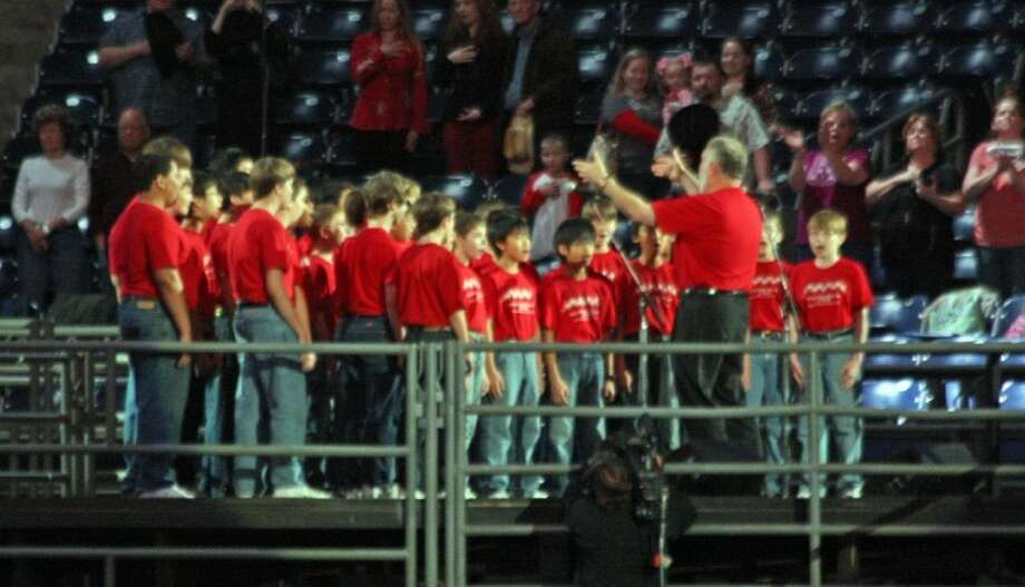 The Fort Bend Boys Choir of Texas sang the National Anthem at RodeoHouston Tuesday night during the first night of rodeo action in Reliant Stadium at the Houston Livestock Show and Rodeo.