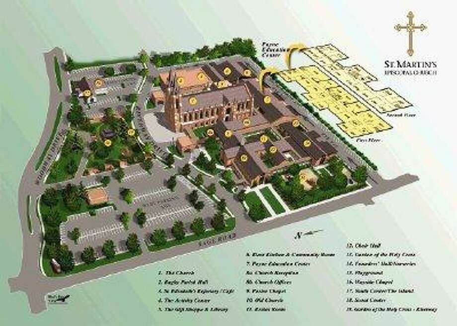 A look at the expansive St. Martin's Episcopal Church. / copyright of completed map held by St. Martins Episcopal Church; copyright of separate components/elements of map held by Bird's