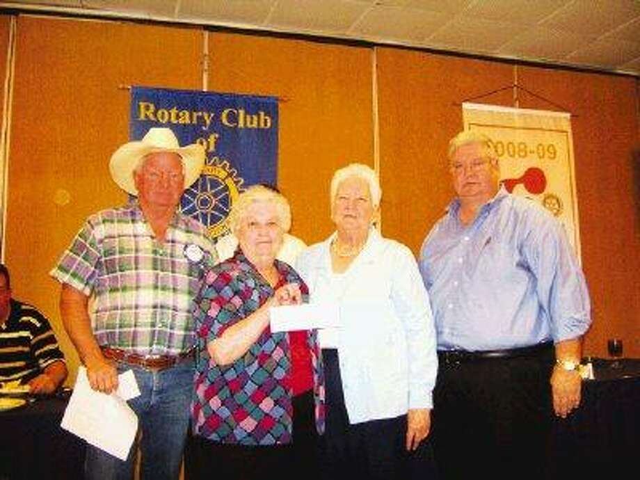 The North Shore Rotary Club donated $1,500 to the Channelview Senior Citizens to help build ramps for homebound citizens. Pictured are (from left): Chuck Radney, Sue Dunn, Virginia Parkinson and B.R. Hendrix.