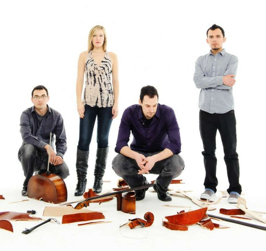The quartet of musicians in Break of Reality bring their unique rock cello music to The Woodlands on March 5.