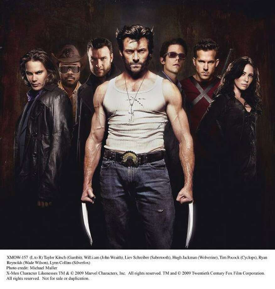 (L to R) Taylor Kitsch (Gambit), Will.i.am (John Wraith), Liev Schreiber (Sabretooth), Hugh Jackman (Wolverine), Tim Pocock (Cyclops), Ryan Reynolds (Wade Wilson), Lynn Collins (Silverfox) / X-Men Character Likenesses TM & © 2009 Marvel Characters, Inc.  All rights reserved. TM and © 2009 Twentieth Century Fox Film Co