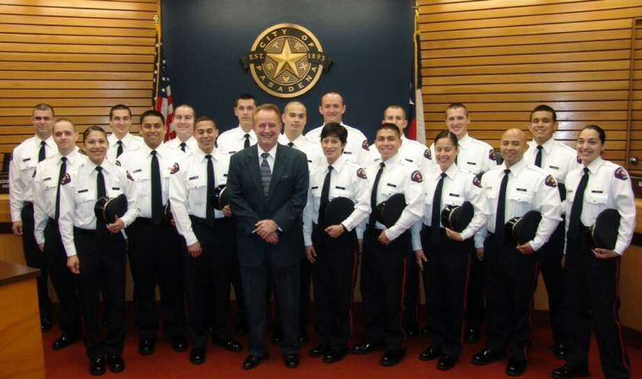 Mayor Johnny Isbell with the Police Academy Cadet Class. Photo: JEFF NEWPHER