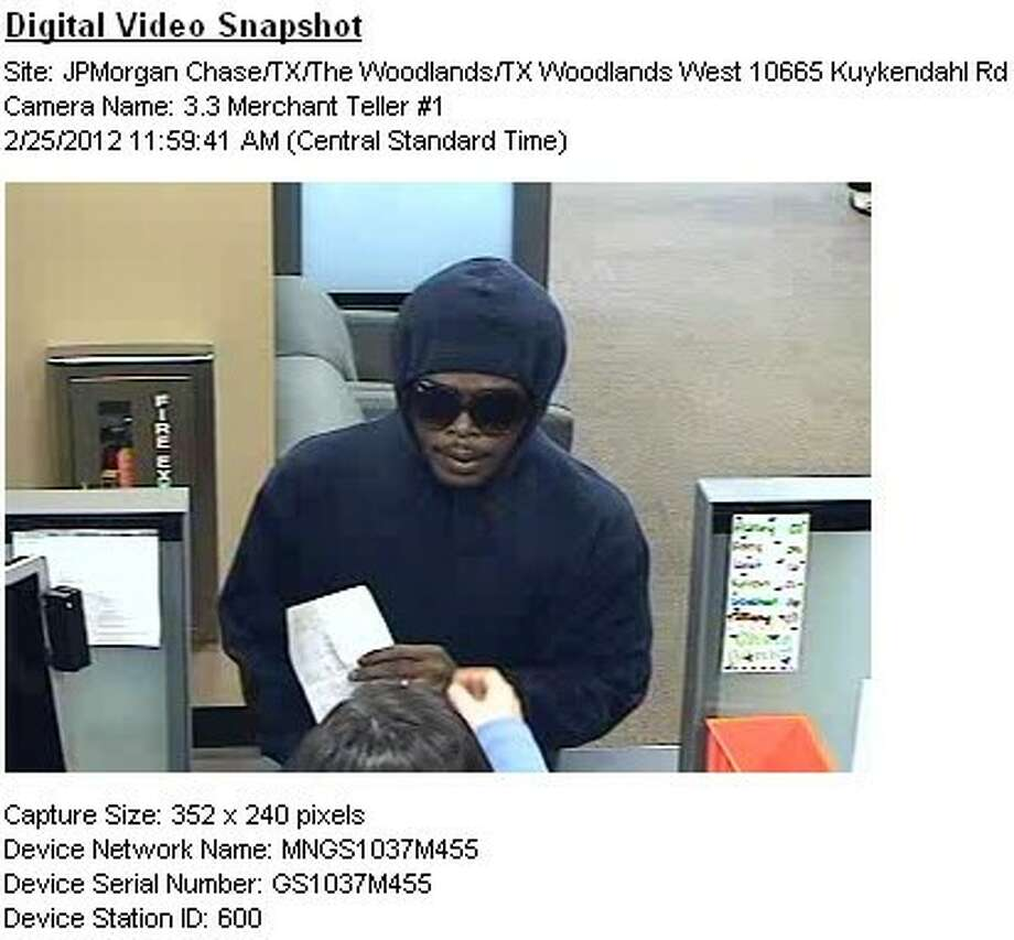 MCSO authorities released this photo of the man who allegedly robbed the Chase Bank in The Woodlands Saturday.