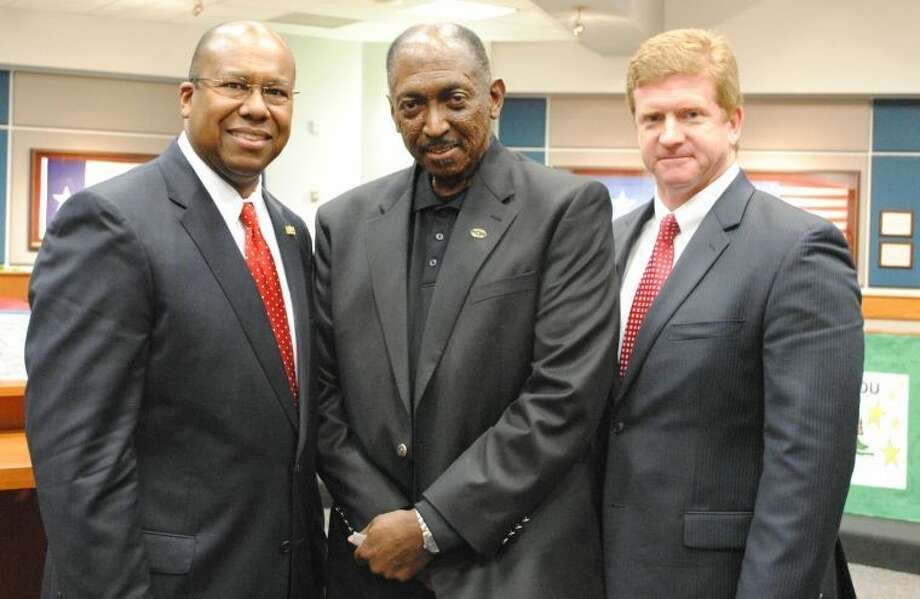 Pictured from left to right is Katy ISD Superintendent Alton Frailey, Obra D. Tompkins, and Tompkins High School Principal Mark Grisdale. Photo: Photo Courtesy Of Katy ISD