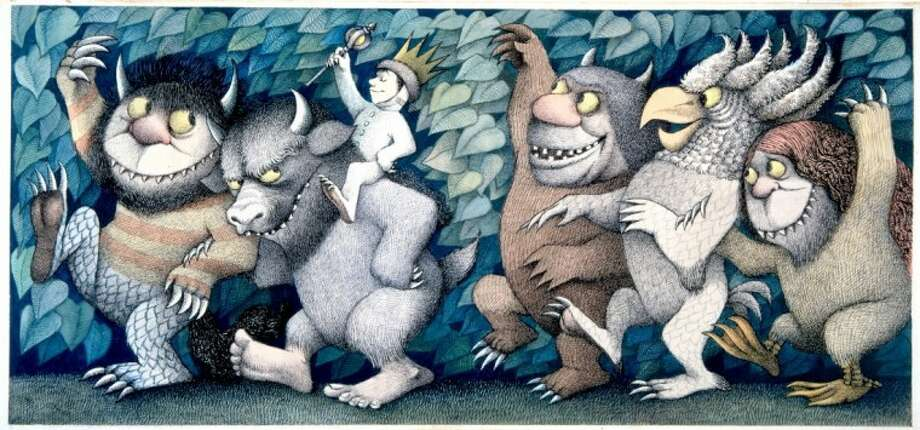 Maurice Sendak has occasionally given names to the Wild Things. The two on the left are named for Sendak himself. The first is Moishe, Maurice's Yiddish name, while the bull-like Wild Thing is Bernard, which is his middle name. The three Wild Things on the right are Bruno, Emil and Tzippi.
