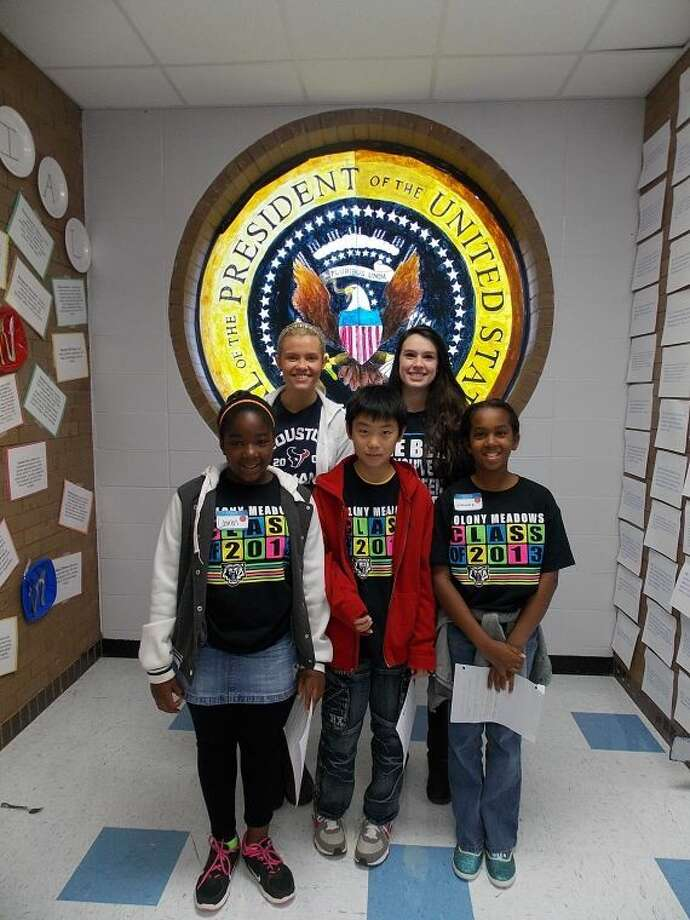 Shown near a replica of the Presidential Seal are: (front row, from left) Lawren Charles, Andy Li, Summer Brown; and (back row) CHS students Shelby Leverman and Liza Poel. Photo: Submitted Photo