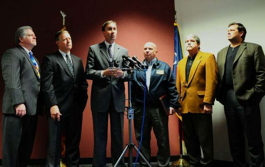 State Rep. Ken Legler, State Rep. Randy Weber, U.S. Rep. Pete Olson, U.S. Rep. Kevin Brady, State Rep. Larry Taylor and State Rep. John Davis address the media after a Tuesday round-table discussion.